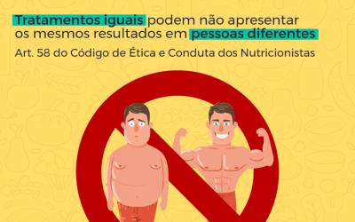 Você sabia que Nutricionistas estão proibidos de divulgar antes e depois de pacientes ?